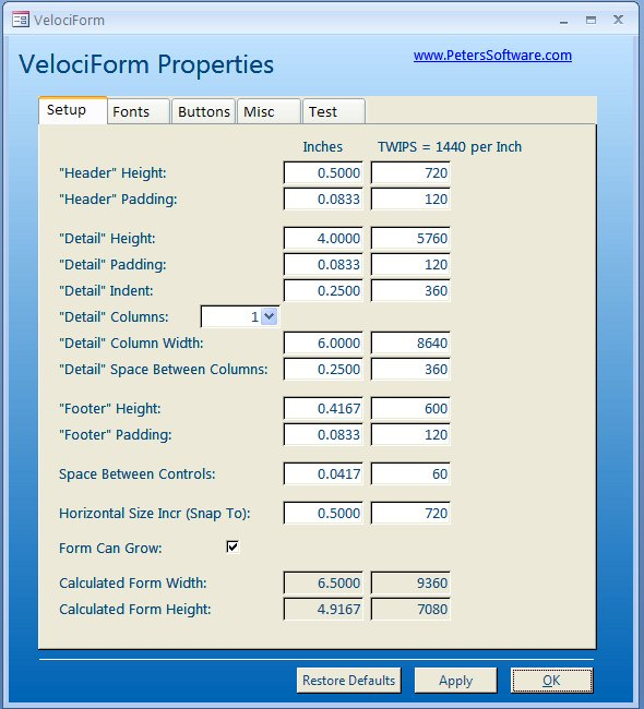Click to view VelociForm for Microsoft Access screenshots
